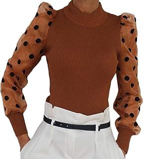 S-Fly Womens Puff Sleeve Polka Dot See Through Long Sleeve Fashion Ribbed T Shirts