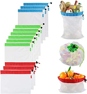 Reusable Mesh Produce Bags,12PCS Washable Mesh Bag Eco Friendly Toy Fruit Vegetable Produce Bags with Drawstrings for Home Shopping Grocery Storage - 3 Various Sizes 12x17In,12x14In,12x8In