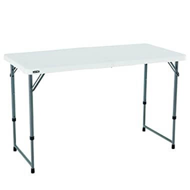 HP Height Adjustable Craft Camping and Utility Folding Table, 4 ft, 4'/48 x 24, White Granite