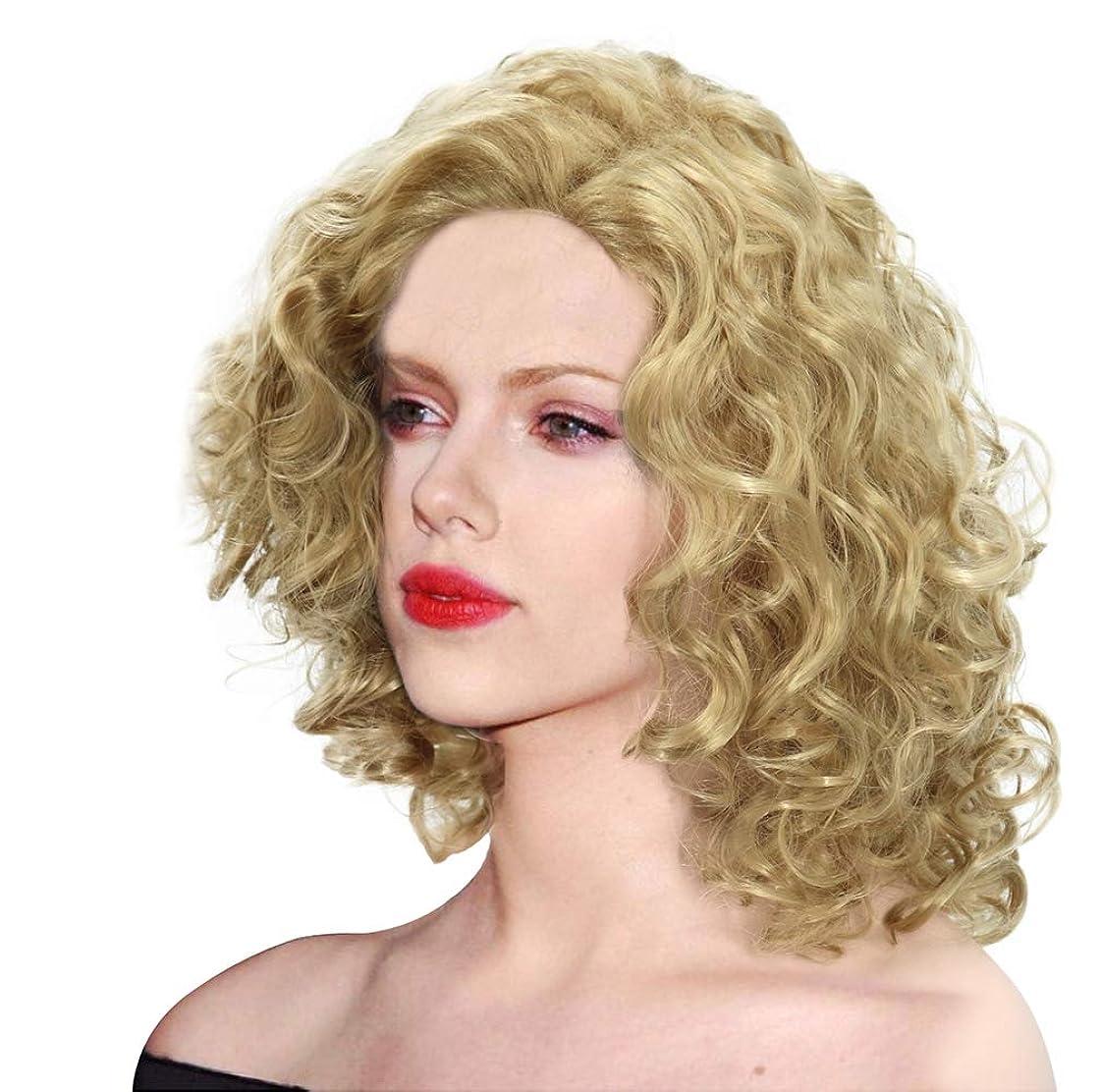 提供インド参照女性かつら人工毛ウィッグ波状わずかに赤ん坊の毛150%密度に適したハロウィーンコスプレゴールド42 cm