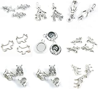 26 Pieces Antique Silver Tone Jewelry Making Charms Wolf Wolfhound Dog Puppy Loose Beads Hound Food Dish Standing Pet Doghouse Schnauzer