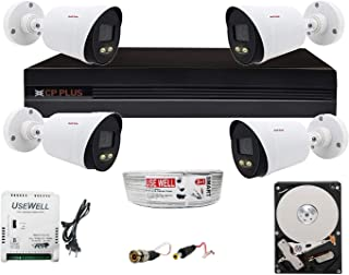 Usewell® CP Plus 8 Channel DVR with 2.4 MP Guard+ Colorful View in Dark 4 Bullet Camera Combo Kit with (8Ch Usewell SMPS, 1TB HDD, 90Mtr Cable Usewell & Connectors) CCTV Security Camera Set