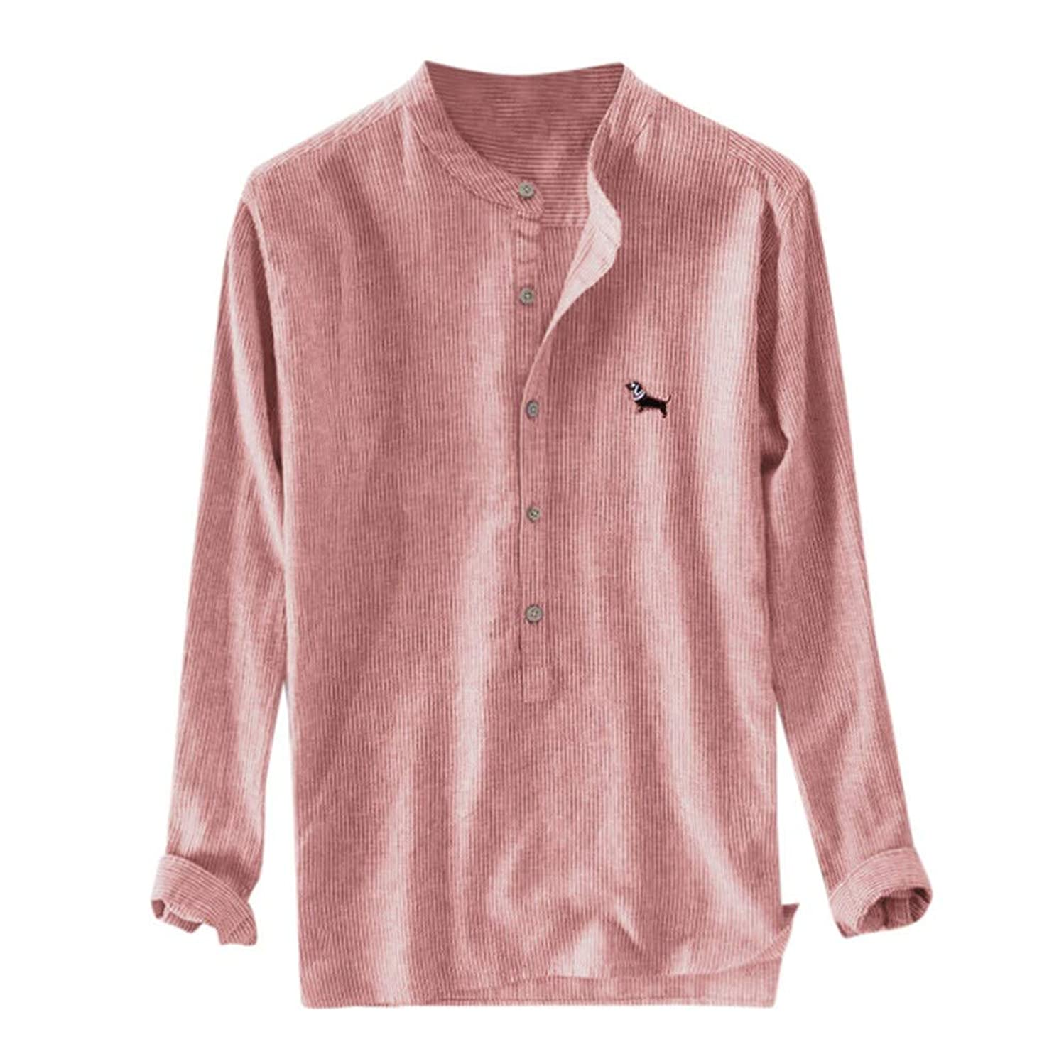 Men Shirts, Mens Striped Stand Collar Cotton Linen Embroidered Shirts Long Sleeve Casual Henley T-Shirt Top