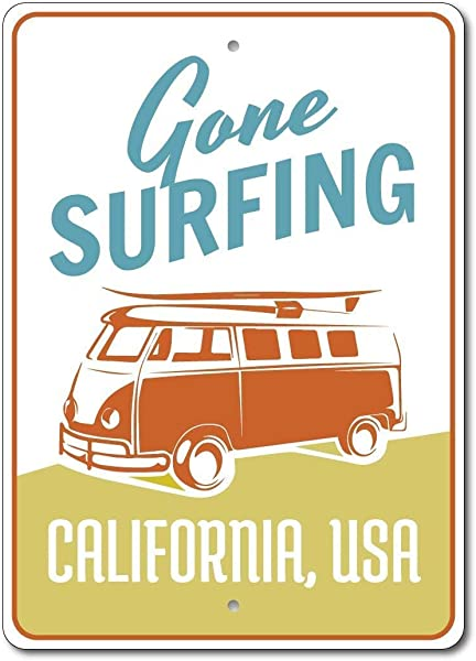 Joycenie Tin Sign Great Aluminum Sign Van Sign Gone Surfing Sign Surfer Gift Beach House Decor Hippie Van Decor Custom Surfing Sign Surf Decor Metal Sign Vintage Retro Wall Decor 12x8 Inch