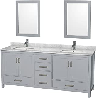Wyndham Collection Sheffield 80 inch Double Bathroom Vanity in Gray, White Carrara Marble Countertop, Undermount Square Sinks, and 24 inch Mirrors - coolthings.us