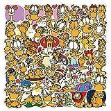 XXCKA 50 Uds Garfield Pegatina Emoticon de Dibujos Animados Funda para teléfono móvil Material de Manual Linda Taza de Agua...