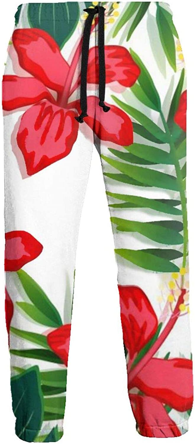 Mens Red Flower Athletic Sweatpants 5 ☆ popular Dra Pants Fashion Bombing new work with Long