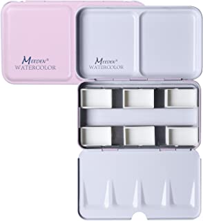 MEEDEN Empty Watercolor Tins Box Palette Paint Case, Small Pink Tin with 6 Pcs Full Pans