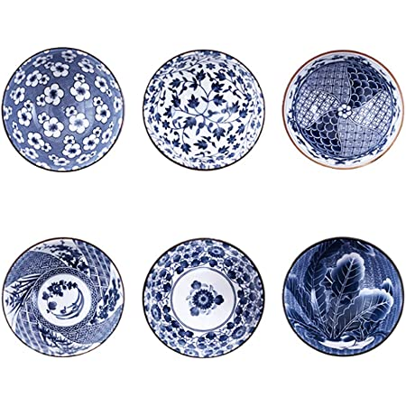 Binoster Ensemble de Bols de céréales à Motifs, 6 Individuel Dessins Japonais Bols en Céramique pour Les céréales/soupes, Lot de 6