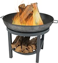 Sunnydaze Cast Iron Round Fire Pit Bowl with Built-in Log Rack - Outdoor Wood Burning Fireplace - 30 Inch