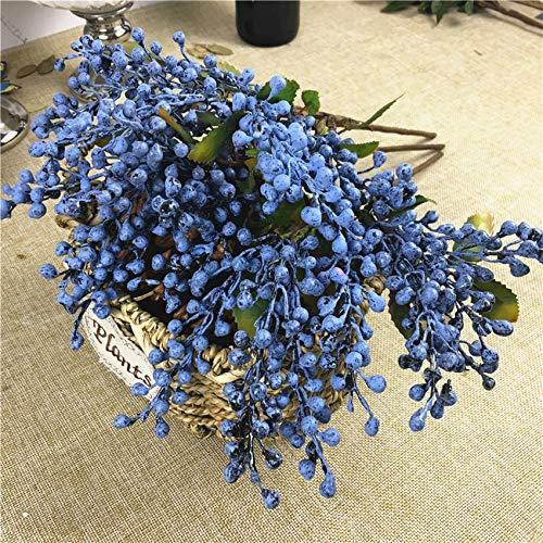 GANHUA Blauwe boon bessen tak plastic nep planten bessen voor thuis tuin bruiloft decoratie DIY krans levert faux bloemen