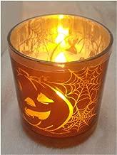 Gerson International Halloween Flameless LED Glass Pillar Candle Two Pumpkin Design