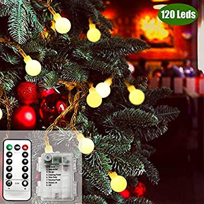 Battery Operated String Lights, 49ft /15m 120 LED Bulb Warm White Globe String Lights with Remote Controller, Decorative Timer Fairy Light for Christmas /Wedding/Party Indoor and Outdoor - Warm White