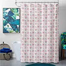 Shower Curtains White Owls,Lovely Good Night Themed Owls Pattern Ornate Style with Stars Moon and Clouds,Pink Seafoam Tan,W72 x L72 Shower Curtain for Kids