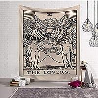 タペストリー 壁掛け魔術ヒッピービーチスローラグカーペット日月タペストリーボヘミアンホームアートサイケデリックインテリア (Color : The Lovers, Size : M (150cmx130cm))