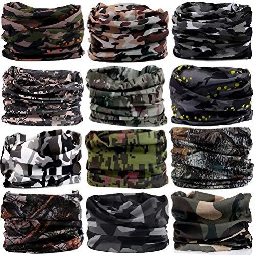 DEMIL Multifunctional Sports Stretchable Seamless Casual Headband Sweatband Magic Camo Scarf Balaclava Headwear Head Wrap (12PCS-Army Camouflage)