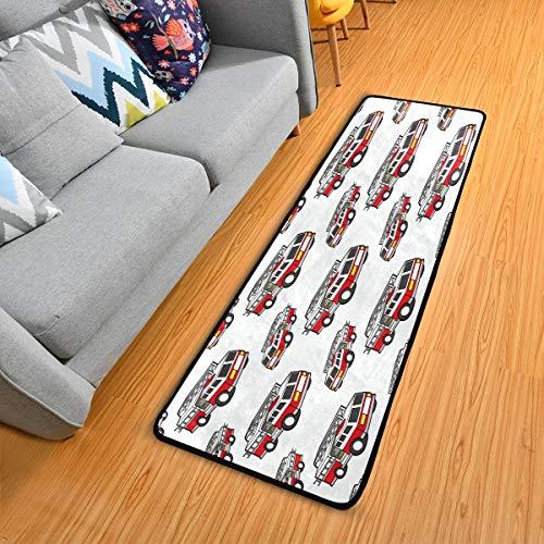 Alinlo Fußmatte, Cartoon-Feuerwehr-Muster, rutschfester Läufer für Flur, Eingangsbereich, Boden, Teppich, 60 x 180 cm