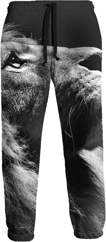 Men's Jogger Sweatpants Lion Looking Up Sky 3D Loose Joggers Pants with Drawstring Long Pants