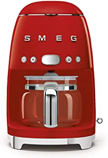 Smeg DCF02RDUK, 50'S Retro Style Drip Filter Coffee Machine, 10 Cup Capacity with Aroma Intensity Function, Water Hardness...
