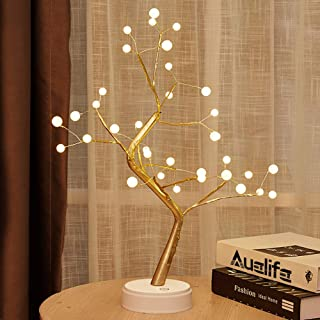 Auelife Upgraded Copper Wire Tree Branch Lights DIY Led Desk Tree Lamp 36 Pearls LED Tree Lights for Desk Table Decor, Wedding Party, Living Room,Bedroom Decoration, Warm White