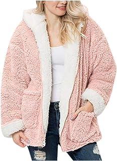 Abrigo Reversible Mujer Chaqueta Lana Parka con Capucha Felpa Sintética Invierno Caliente Jacket Cómodo Casual Suéter Algodón Overcoat Outwear Sweater