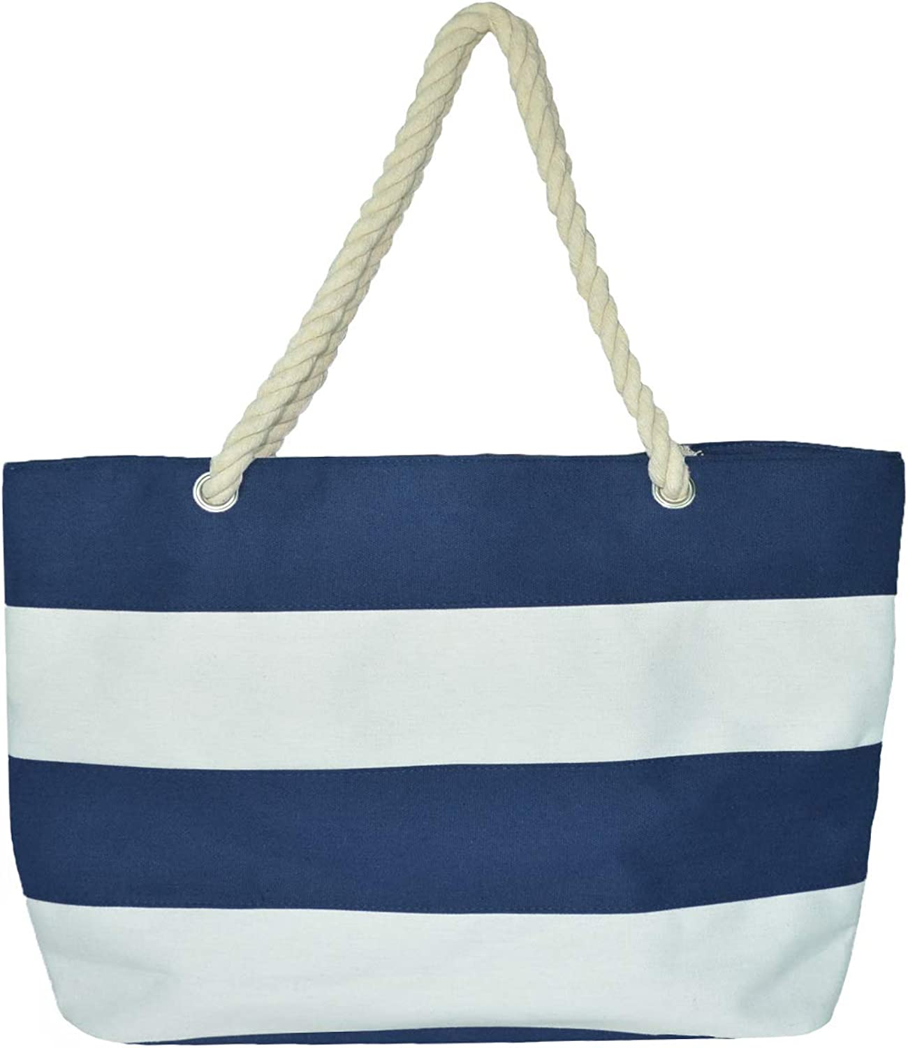 Beach Bag with Inner Zipper Canvas Tote Bags for Women (XLarge, Navy bluee)