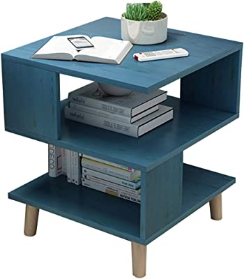 Coffee Tables Snack Side End Table,Sofa Table, Living Room Small Coffee Table, Simple Side Table and Small Table, Storage Coffee Table Shelf (Color : Blue, Size : 40 * 40 * 55.5CM)