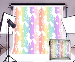 Laeacco Vinyl 5x5ft Photography Background Fairy Tale Fantasy Cartoon White Unicorn Color Stripes Background Children Cartoon Backdrops Portraits Shooting Video Studio Props