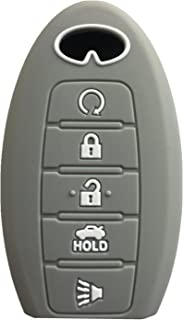 Rpkey Silicone Keyless Entry Remote Control Key Fob Cover Case protector For Infiniti g35 qx56 fx35 q50 g37 m35 qx60 i35 qx80 q60 qx30 for 5 buttons(gray) S180144014