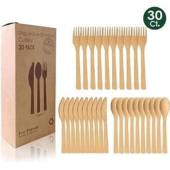 FAPPEN - Juego de 30 cubiertos de madera de bambú, desechables, biodegradables, respetuosos con el medio ambiente, para fiestas, camping, viajes y barbacoas, 10 tenedores, 10 cuchillos, 10 cucharas: Amazon.es: Hogar