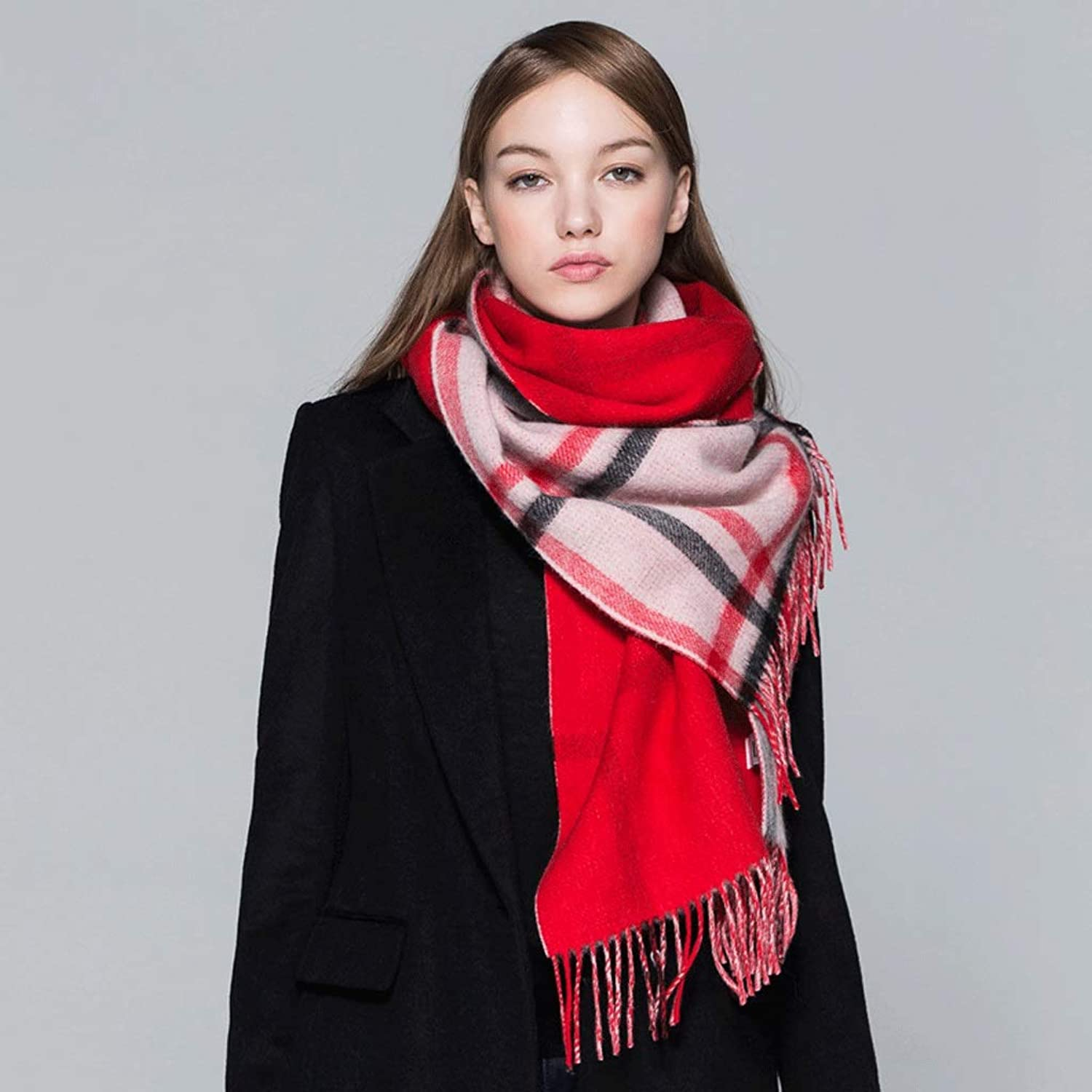 CHX Wool Scarf Female Warm Youth Casual Check Lattice Collar Wild Fashion Scarves Light Luxury Products V (color   RED)