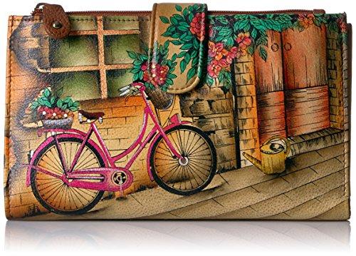 Anuschka Damen Cell Phone Wallet Handbemaltes Leder   Handy- und Kreditkartenetui   Clutch oder Umhängestil/Abnehmbarer Riemen, Vintage Bike, Einheitsgröße