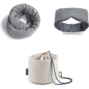 Huzi Infinity Pillow + Bamboo Sleep Mask + Case - Home Travel Soft Neck Scarf Support (Bon Voyage Kit - Grey)