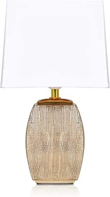 BRUBAKER - Lampe de table/de chevet - Design élégant - Hauteur 38 cm - Pied en Céramique/Doré - Abat-jour en Coton/Blanc