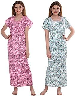 CIERGE Women's Smoking Cotton Fabric Beautiful Print Nighty (Multicolor, Free Size) Pack of 2