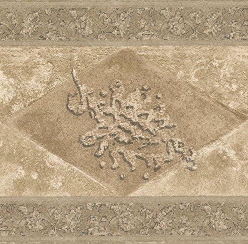 Braun Beige Abstrakt Tapete Bordüre Rhombus geometrischem Design, Rolle 15'x 17,8cm