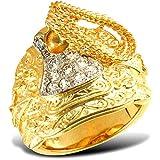 Sólido 9ct Oro Amarillo Peso Medio Anillo Montura, Circonita Cúbica Piedras, Tamaño Z+2