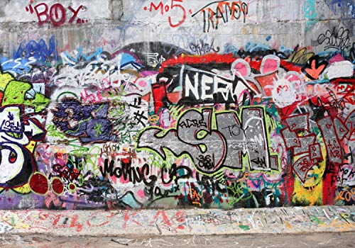 wandmotiv24 Fototapete Abstrakt Graffiti 3 XL 350 x 245 cm - 7 Teile Fototapeten, Wandbild, Motivtapeten, Vlies-Tapeten Streetart, Vintage, Muster M0027