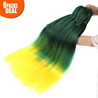 3 Tone Pre Stretched Braiding Hair, 28 Inches Ombre Yaki texture Braid Hair Extensions, 6 Bundles 100% Top Quality Kanekalon Synthetic Colorful Hair Braids (1b-green-yellow)