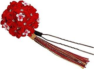 つまみ細工 髪飾り 赤 レッド 菊 梅[ かんざし 成人式 振袖 袴 浴衣 着物 和装 簪 髪型]