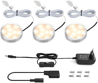 LE Focos LED para Muebles Cocina 6W 510lm en total, Luz Cálida Potente, luces para Vitrinas Encimera Armario Estante Repisa, pack de 3