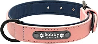 Ubiquity-Shop Dog Collars Personalized Custom Leather Dog Collar Name ID Tags for Small Medium Large