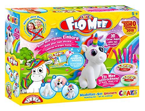 CRAZE FLO MEE Lufttrocknende flauschige Kinder-Knete Modellier-Set Unicorn Einhorn Knetmasse auf Wasserbasis 13656