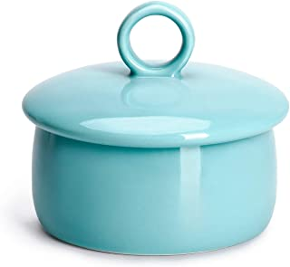 Sweese 316.102 Butter Crock Keeper, French Butter Dish - Ring Handle - Holds Up to 4oz East and West Coast Butter - Perfect Spreadable - Porcelain, Turquoise