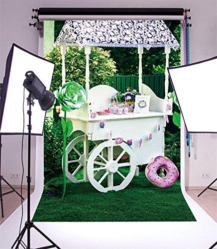 YongFoto 1x1,5m Fondo de Fotografia Spring Wood Candy Bar Pan Green Flowers...
