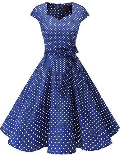Dresstells Vintage 50er Swing Party kleider Cap Sleeves Rockabilly Retro Hepburn Cocktailkleider Navy Small White Dot XL