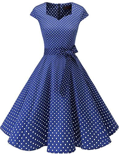 Dresstells Vintage 50er Swing Party kleider Cap Sleeves Rockabilly Retro Hepburn Cocktailkleider Navy Small White Dot XS