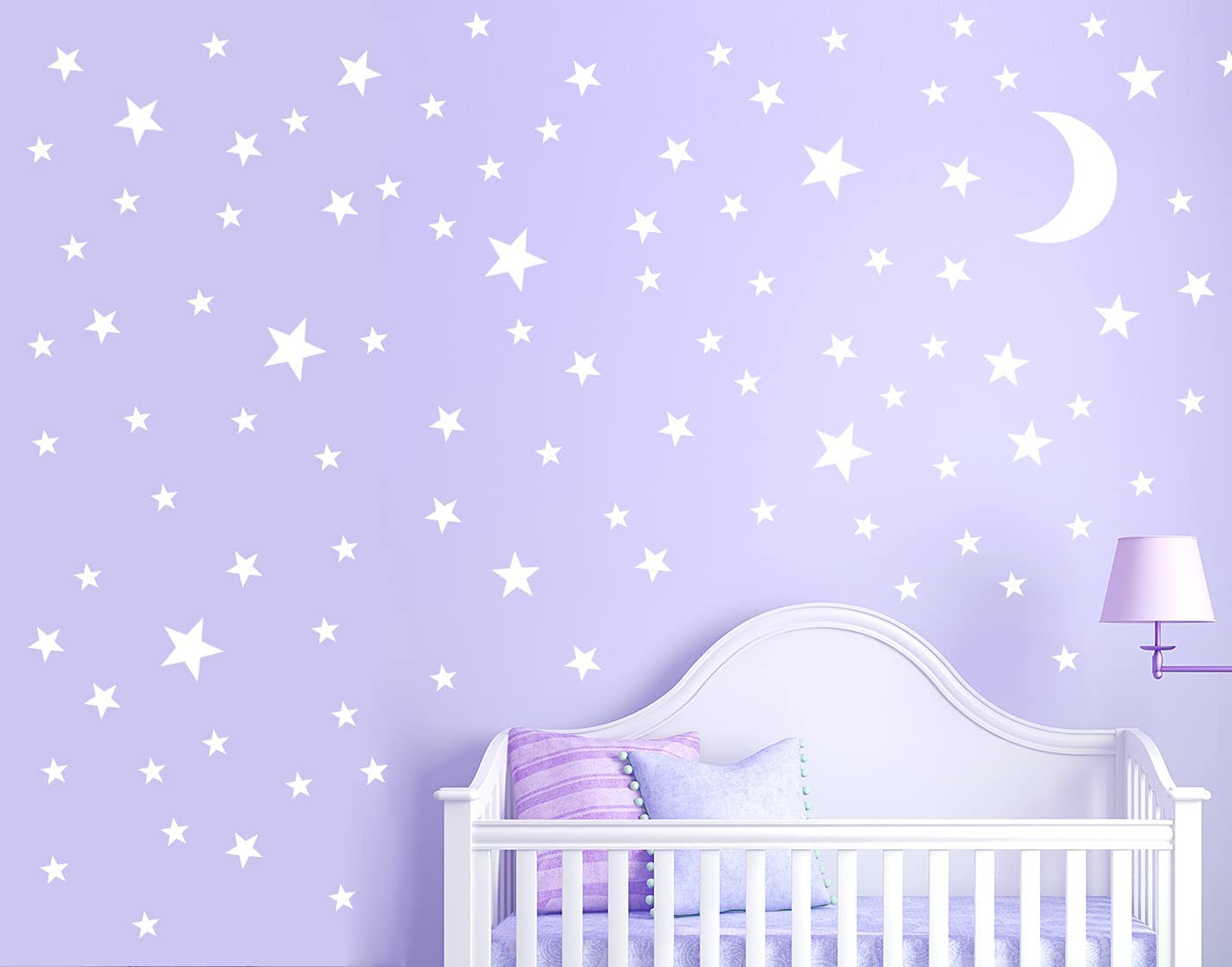 Giyyomtr Stars Wall Decals -350Pcs Baby Nursery Star Wall Stckers Removable Mural Decor for Girls Kids Beding Room Decoration (White)