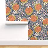 Spoonflower Peel and Stick Removable Wallpaper, Tropical Fruit Folk Art Citrus Ethnic Nature Food...