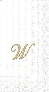 "Ideal Home Range 96 Count Stripes Again Monogram Letter W Paper Guest Towel Napkins, 8.5"" x 4.5"""